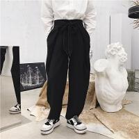 春季新款仙蝴蝶结腰带设计直筒宽松阔腿裤潮男装长裤子