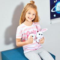 【2件5.5折到手价:49】小猪班纳女童圆领T恤短袖儿童卡通上衣纯棉夏