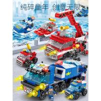 �犯呋�木拼装玩具 男孩儿童益智力拼插小盒装颗粒组装汽车拼图5岁