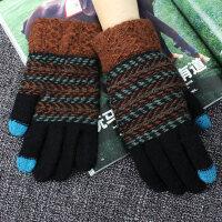 毛线手套男保暖冬季针织加厚骑车学生手机可触屏手套男冬