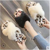 新款网红女鞋冬季韩版百搭豹纹毛毛拖鞋女时尚外穿平底一字拖
