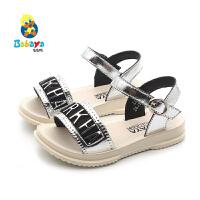 芭芭鸭儿童凉鞋韩版潮鞋女童透气鞋2020夏季新款露趾鞋宝宝公主鞋
