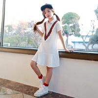 女童学院风连衣裙女孩纯棉短袖休闲运动网球裙韩版夏季新款中大童