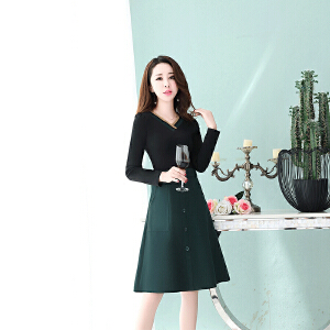 女款秋装2018新款假两件正式场合针织长袖连衣裙时尚气质打底裙子