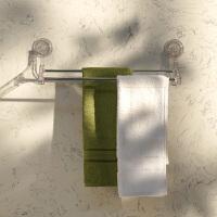 奇居良品 创意卫浴 卡莎吸盘双排毛巾挂架 透明色