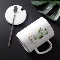 北欧ins情侣一对马克杯带盖勺简约创意潮流水杯陶瓷家用办公室