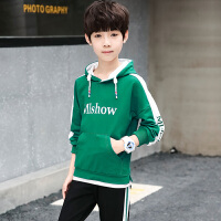 乌龟先森 套装 男童长袖长裤字母套头衫秋季新款韩版儿童时尚个性舒适中大童休闲两件套