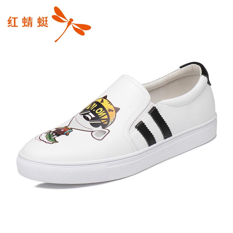 红蜻蜓正品男鞋新款时尚休闲轻便情侣鞋复古印花一脚蹬社会风