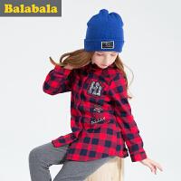 巴拉巴拉女童长袖衬衫中大童上衣冬装童装儿童纯棉格子衬衣女