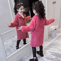 冬装韩版女孩加厚毛毛衣儿童水貂绒毛呢大衣女童外套洋气