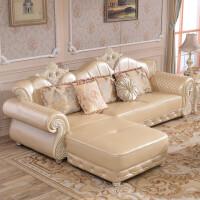 欧式真皮沙发转角实木雕花简欧小户型客厅家具组合简约皮沙发