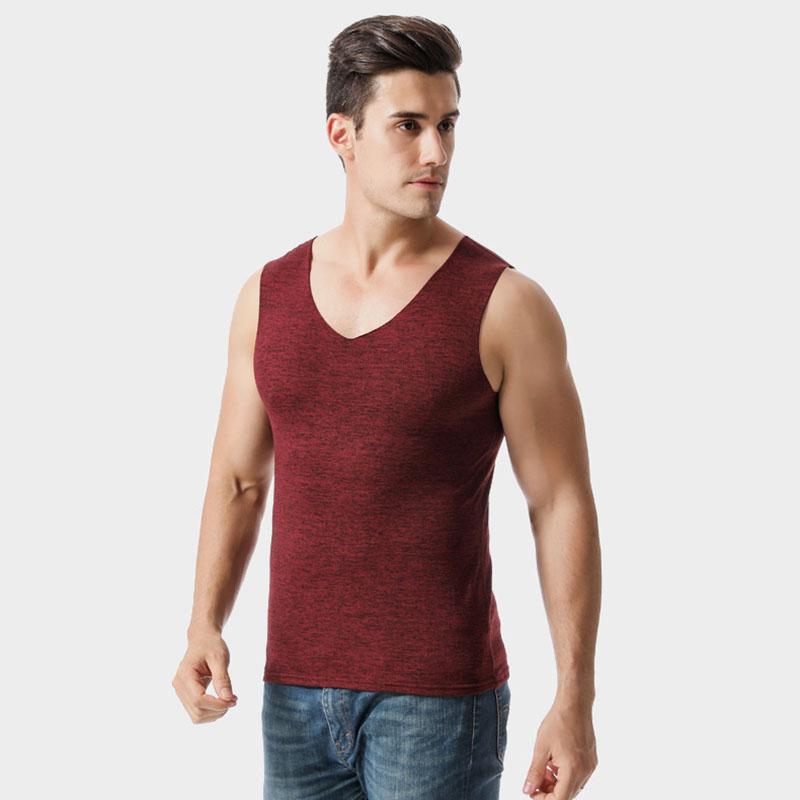 保暖背心 男士保暖背心2020冬季新款贴身上衣男式V字领加绒加厚内衣 男士保暖背心