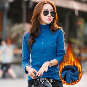 加绒加厚女装韩版修身打底衫 时尚套头长袖女式t恤