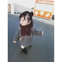 女宝宝连帽加厚卫衣2017冬季装新款韩版婴幼儿保暖加绒上衣