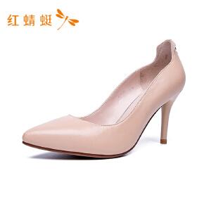 红蜻蜓女鞋细跟高跟浅口金属装饰时尚单鞋