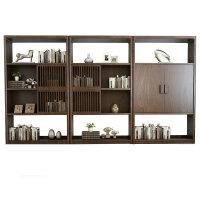 新中式书柜组合现代中式储物柜办公室书房全实木禅意书架定制家具
