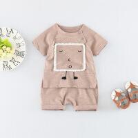 男童短袖套装女宝宝洋气0小童1夏装2婴儿夏天纯棉衣服两件套潮3岁