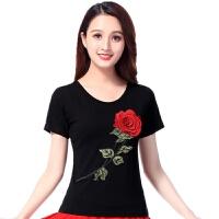 广场舞服装夏季新款舞蹈服中老年演出服玫瑰绣花短袖跳舞上衣