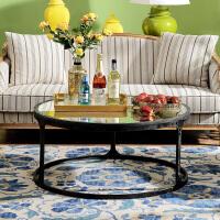 奇居良品 美式家具 帕里斯彩绘镜面圆形铁艺客厅茶几
