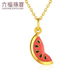 六福珠宝珐琅黄金吊坠女水果系列西瓜吊坠不含链定价GDA1E70017