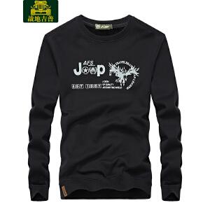 战地吉普AFS JEEP加绒卫衣男士加厚保暖圆领加厚长袖T恤 2017冬季新款宽松休闲运动上衣LZ79087B