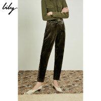 【开学季到手价:189元】 Lily春新款女装时髦复古军绿丝绒感修身哈伦裤118330C5607