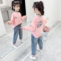 女童长袖T恤2021新款小女孩春秋装卡通上衣儿童韩版春秋打底体恤衫