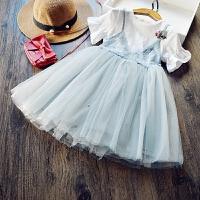 韩国童装女童假两件连衣裙儿童蕾丝钉珠纱裙蓬蓬裙2017夏款公主裙