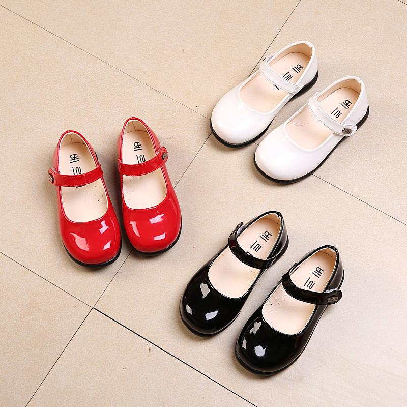 春款女童皮鞋单鞋学生公主鞋童鞋宝宝鞋中大童黑色皮鞋舞蹈鞋