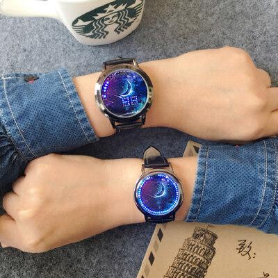 韩版女士LED电子表个性创意夜光触控男表 时尚潮流学生表女生手表腕表 品质保证 售后无忧