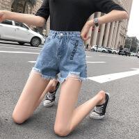 牛仔短裤女夏新款外穿韩版宽松学生百搭高腰阔腿字母破洞热裤子