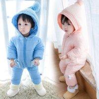 初生宝宝婴儿哈衣爬衣冬季加厚外出服防寒保暖连体衣抱服连体