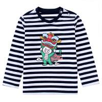 小猪班纳童装宝宝圆领打底衫2020春秋新款男童长袖纯棉t恤条纹衫