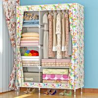 索尔诺加固布衣柜 钢管加粗加厚简易衣柜防尘组装折叠组合布衣橱1321