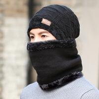 时尚帽子男冬季加绒加厚针织毛线户外风防套头帽保暖脖围巾二件套装潮