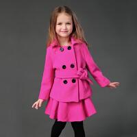 2018女童冬新款夹棉加厚毛呢子套装双排扣儿童大衣外套短裙套裙