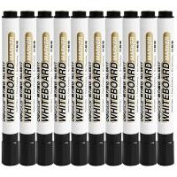 得力6817单头白板笔10支装 易擦拭水性多用白板写字笔展示板笔 单支