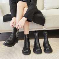 达芙妮女鞋短靴女2021年秋冬季新款马丁靴真皮切尔西瘦瘦靴骑士靴