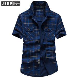 JEEP吉普格子衬衣男 纯棉短袖衬衫男装 2018夏季薄款翻领休闲男士上衣
