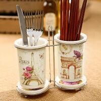 Evergreen爱屋格林创意陶瓷印花铁架筷筒带沥水底座双筷筒套装沥水设计 双筒大容量