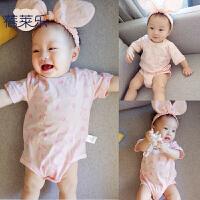 婴儿连体衣服宝宝新生儿0春装0岁7个月新款爬服2新年