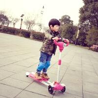 滑板车儿童蛙式剪刀车2-3-6-8岁男孩女孩四轮溜溜车摇摆双脚踏板 玫红色 闪光轮