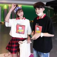 卡通可爱夏季POLO衫男女学生班服情侣装短袖T恤2018新款夏装韩版