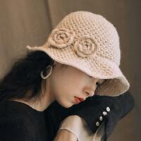 休闲花朵柔软可折叠保暖毛线帽羊毛混纺小沿渔夫帽女钩针盆帽