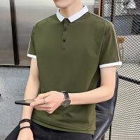 短袖t恤男2020夏季新款polo衫男士绿色翻领纯棉�B恤