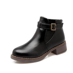 ELEISE美国艾蕾莎新品118-018英伦超纤皮平底女士马丁靴