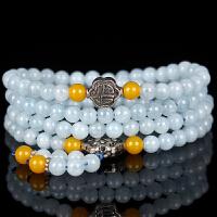 天然水晶海蓝宝幸运石绕4圈手串