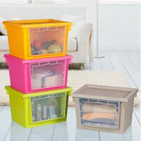 炫彩透明窗带盖收纳箱大号衣服收纳箱塑料整理箱收纳箱衣物收纳盒有盖储物箱 可叠加收纳柜收纳箱