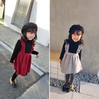 冬装新款童装女童加绒针织连衣裙小童宝宝加厚假两件公主裙