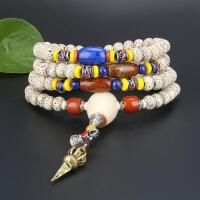 戴和美  精选高密顺白正月星月菩提+青金石顶珠+战国红玛瑙腰珠佛头佛珠手串